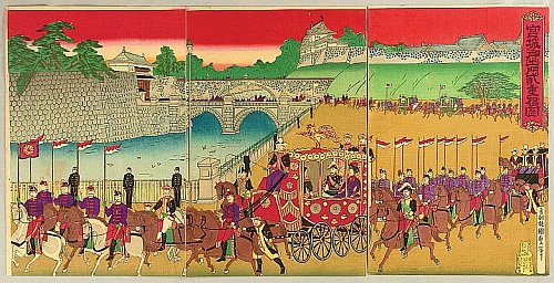 Chiyoda Palace and Nijubashi Bridge, 1889 - By Chikanobu Toyohara