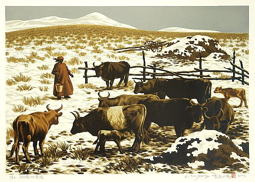 Grassland of Early Spring, 2003 - Reduction Woodblock Print