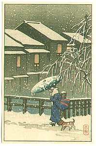 Hasui Kawase - Walk in the Snow