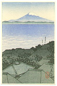 By Hasui - Mt. Fuji Seen from Village