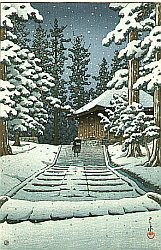 By Hasui Kawase - Hiraizumi Hall of the Golden Hue
