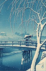 By Hasui Kawase - Evening Snow at Edo River