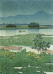 Woodblock Print - Lake Ezu
