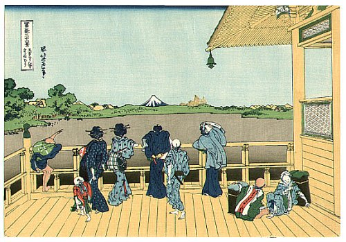 36 Views of Mount Fuji - No. 13 - Pilgrims and visitors at Sazai Hall of Five-hundred Rakan temple in Edo.