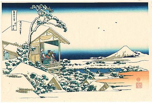 36 Views of Mount Fuji - No. 14 - People are looking at Mt. Fuji from a tea house at Koishikawa in the snowy morning.