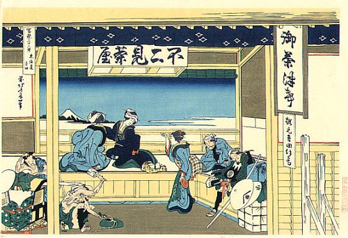 36 Views of Mount Fuji - No. 19 - People are marvelling Mt.Fuji from the balcony of tea house.