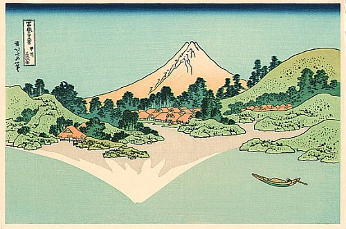 36 Views of Mount Fuji - No. 25 - The reflection of Mt.Fuji is seen on the water surface at Misaka in Koshu province.