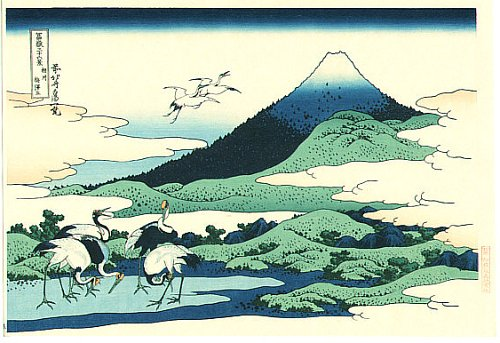 36 Views of Mount Fuji - No. 31 - Cranes at Umezawa Manor in Sagami province.