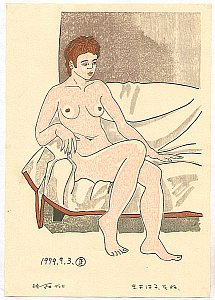 Nude with SHort Hair Sitting on Sofa