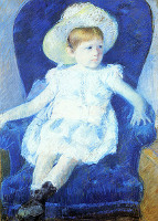 Elsie in a Blue Chair - By Mary Cassatt