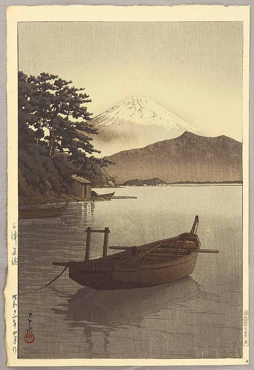 By Hasui Kawase - Mt.Fuji Seen from Nagahama, 1937