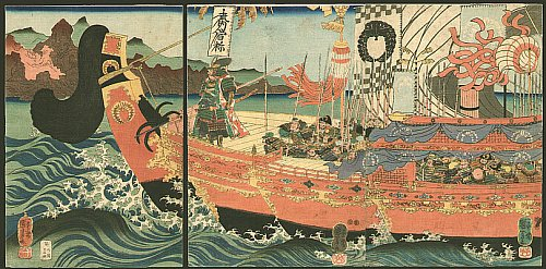 A battle ship with samurai warriors in full armor. - Naval Battle of Dannoura