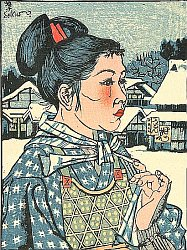 Woman in a Snowy Village - Sosaku Hanga