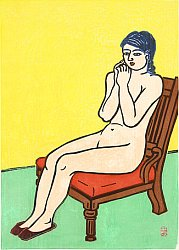 By Unichi Hiratsuka - Nude on a Red Chair