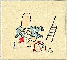 Zeshin Shibata 1807-1891 - Gott Jurojin und ein Junge