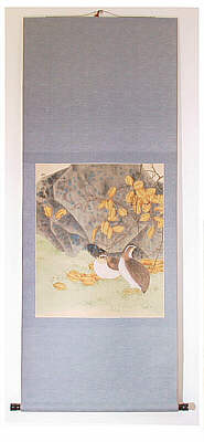 Japanese Painting - Two Quails in Autumn