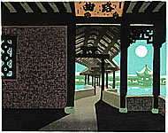 Sinuate Corridor 1, color woodcut, 1997