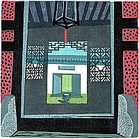 Middle Gate, color woodcut, 1996