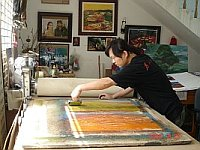 Zhu Rui in his Studio