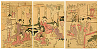 Toyokuni Utagawa 1769-1825 - Card Game and Fox