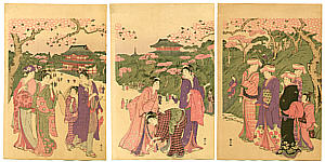 Shunzan Katsukawa active  ca. 1782 - 1798 - Cherry Blossom Viewing