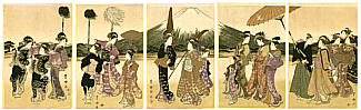 Toyokuni Utagawa 1769-1825 - Courtesan and Mt. Fuji (5 oban prints)
