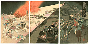 Toshimitsu Kobayashi active 1880-1900 - Night Battle at Pyongyang