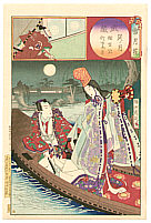 Chikanobu Toyohara 1838-1912 - Dancer on a Boat - Setsu Getsu Ka