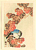 Sozan Ito 1884-? - Blue Bird and Autumn Leaves (miniature print)