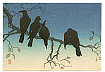 Hiroaki Takahashi 1871-1945 - Crows on a Cold Night (postcard size print)