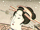 Eisen Ikeda 1790-1848 - Bijin with Shamisen (re-carved)