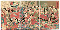 Chikanobu Toyohara 1838-1912 - Tea Party -  Meiji Emperor and Empress