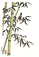 Nisaburo Ito 1910-1988 - Bamboo and Sparrows  (left panel)