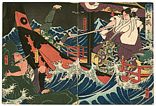 Hirosada Utagawa active ca. 1820-1860 - Stormy Ocean - Keisei Kiyome no Funauta -