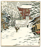 Nisaburo Ito 1910-1988 - Snowy Day at a Temple