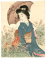 Kason Suzuki 1860-1919 - Bijin in Autumn Garden (Kuchi-e)