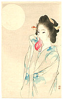 Eisen Tomioka 1864-1905 - Beauty and the Moon (Kuchi-e)