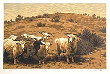Li Yanpeng born 1958 - Goats on the Sandhill