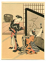 Harunobu Suzuki 1724-1770 - Ladies and  Crane Screen