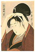 Utamaro Kitagawa 1750-1806 - Beauty with  Comb