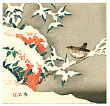 Chikuseki  active ca. 1900 - Bird on Snowy Branch