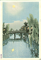Eiichi Kotozuka 1906-1979 - Evening Moon at Benten Bridge