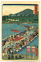 Yoshitora Utagawa active ca. 1840-1880 - Abe River - The Scenic Places of Tokaido