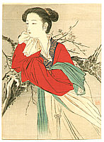 Hanko Kajita 1870-1917 - Chinese Lady in Red