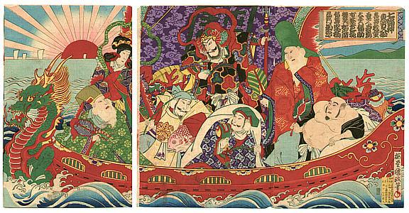 Hosai Baido 1848-1920 - Sieben Glücksgötter
