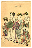 Shuncho Katsukawa active ca. 1780-1795 - Courtesans and Kamuro