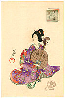 Chikanobu Toyohara 1838-1912 - Beauty and Lute