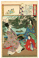 Chikanobu Toyohara 1838-1912 - Football Player and Monkeys -  Edo Embroidery Pictures