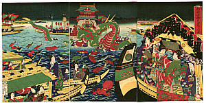 Chikanobu Toyohara 1838-1912 - Water God Festival at Ryogoku