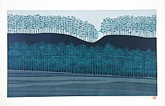 Tadashige Nishida born 1942 - Stretch of Trees (blue)